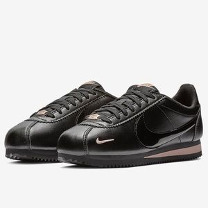 NIKE CORTEZ • Leather - Tonal Black/Rose Gold